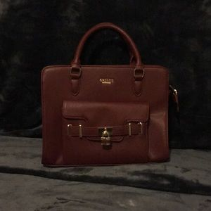 Burgundy leather Guess satchel